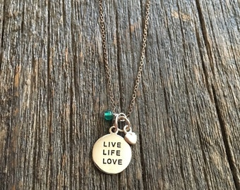 Live Life Love charm necklace