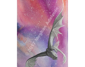 Toothless Large Print from Original Watercolor Painting