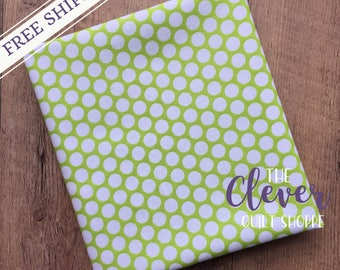 Quilting Fabric, Riley Blake, White Honeycomb Dot on Lime Green  Basics