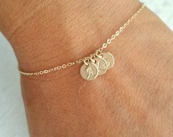 Tiny Gold Initial Bracelet, Tiny Rose Gold Filled or Gold filled Initial Bracelet, Mother's Bracelet, Grandma Bracelet, Family Bracelet