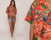 Hawaiian Shirt Tropical Shirt 70s PALM TREE Blouse Button Up Shirt Fish Novelty Print 1970s Boho Top Beach Orange Extra Large xl