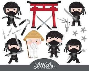 Black ninja clipart - karate clipart - 15042