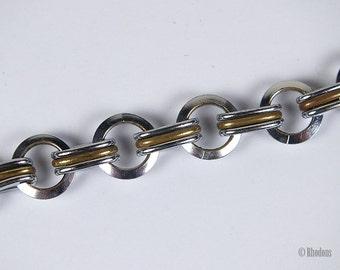 Art Deco Necklace, Chrome & Brass Links