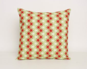 Red Green and White Holiday Pillow Cover in Premier Prints Cass Pattern Designed to Fit 16, 18, 20 or 22 Inch Standard Inserts