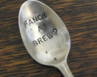 hand stamped cutlery spoon valentines fancy a brew
