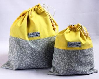 Large knitting bag, flowers drawstring bag, floral project bag, yellow knitting bag fabric bag, fabric drawstring bag, UK knitting gifts