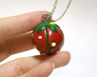 pin cushion necklace, handmade jewelry and accessories, clay pendant, hand painted, sewing necklace
