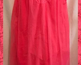 Vintage Deep Pink Vanity Fair Nightgown