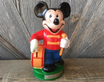 Mickey Mouse Bank {Vintage Disney Mickey Mouse Coin Piggy Bank} LARGE Disney Figurine Collectible Kid Toy Plastic Walt Disney Band Drummer