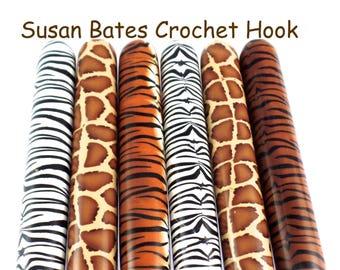 Crochet Hook, Polymer Clay Covered Susan Bates Crochet Hook, Animal Print, Safari, Jungle Design