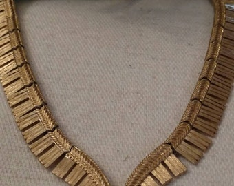 SALE Textured MONET Choker, Gold Tone, V Pattern, Heavy Links, Stamped, Excellent Condition