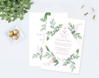Girls Baptism Invitation, Greenery Baptism Invitation, Girl Baptism, DIY Invite, Editable Template Invitation Pink Watercolor Botanical Leaf