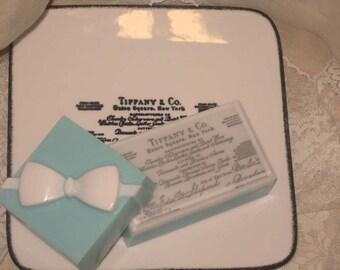 Natural Soap Gift Set, Vintage Receipt Soap Dish, Natural Shea Butter French Lavender Soap Design Gift Set Vegan Friendly, ECS