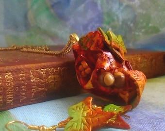 Autumnal Jewelry Set | Fall Jewelry Set | Autumn Leaves Set | Autumn Leaves and Fruits Set | Autumnal Earrings | Autumnal Necklace