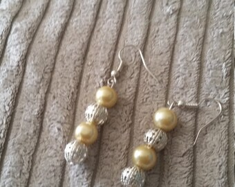 Drop Earrings  (Silvertone)