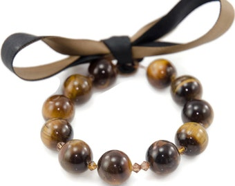 Tigers Eye and Swarovski Crystal Ribbon Bracelet