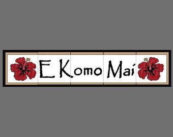 CUSTOM LISTING For D. HITT - Framed Custom Hawaiian House Sign with Hibiscus
