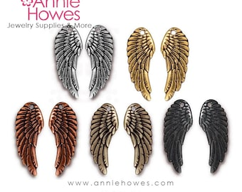 Angel Wing Charm. Drop Wing Charm in Silver, Black, Copper and Gold.