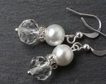 Bridesmaid earrings, Crystal earrings,  Bridal earrings, pearl and crystal earrings, bridesmaid gift, crystal dangles, wedding jewelry