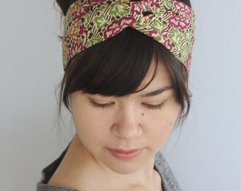 Boho Turban Headband, Flower Twist Headwrap