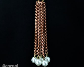 2 1/2 Inch Copper Chain Tassel with Pearls (6 Pcs) #3415