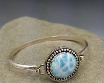 Larimar and Sterling Silver Tension Cuff Bangle Bracelet READY TO SHIP Artisan Jewelry by Delia Stone