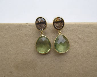Brown and Green Crystal Tear Drop Earrings, Dangle Earrings, Indian Earrings, Everyday Wear Earrings for Women
