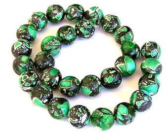 25 green mosaic magnesite 10mm beads, green magnesite, green and black round 10mm beads