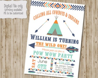 Birthday Pow Wow Invitation, Tribal Birthday Invitation, Pow Wow, Teepee, Cowboys and Indians Invitation,  Arrow, Feather, Boho, Boy Girl