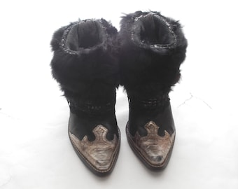 Real Fur Rabbit Cowgirl Cowboy Boho Hippie Belt Winter Fall Chic Booties Ankle Boots