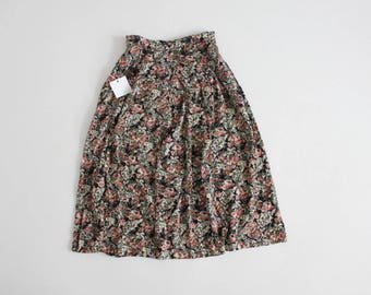 pink and black floral skirt   90s floral skirt   floral midi skirt