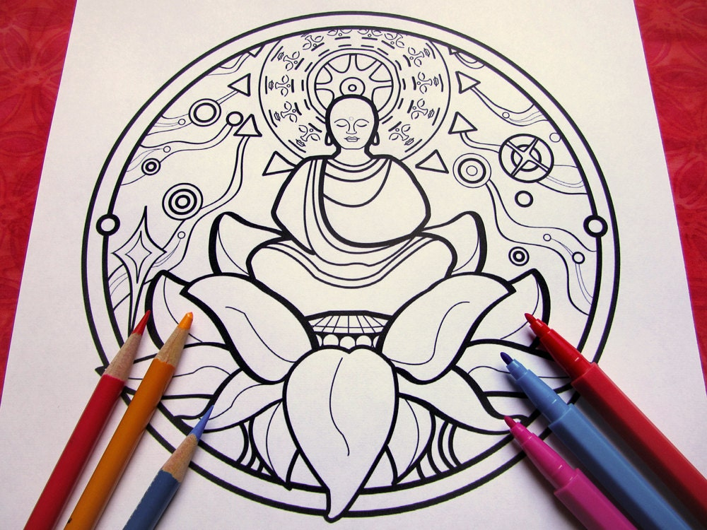 Peace Buddha Mandala Coloring Page single page to print and