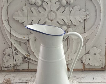 Antique French White Enamelware Pitcher