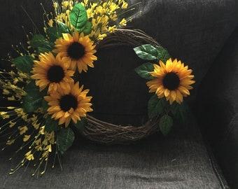 Rattan sunflower wreath