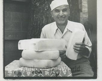 Smiling man cheese maker vintage occupational photo