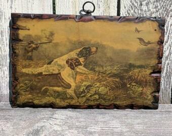Vintage American Field Sports on wood 14 x 9