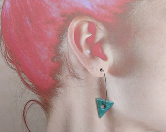 Ceramic Earrings - Turquoise Triangles