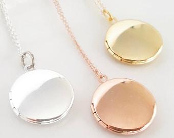 Rose Gold Locket - Rose Gold Bridesmaid - Gold Locket - Gold Layering Locket - Layered Necklace - Bridesmaid Locket - Flowergirl Locket