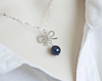 Bow Necklace, Bow Pearl Necklace , Swarovski Pearl Bow Necklace ,Tiny Matte Rhodium Plated Bow Pendant  and Swarovski Pearl,