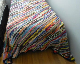 Crochet Afghan, Colorful Throw, Blanket, Fall and Winter Extra Warm Throw, Multi Colored Diagonal Stripes Extra Large