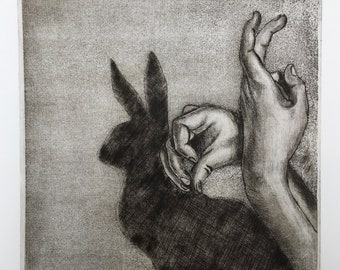 Engraving original /Suivez rabbit /Follow the rabbit/Alice's Adventures in Wonderland / Alice's adventures in the land of wonders/etching