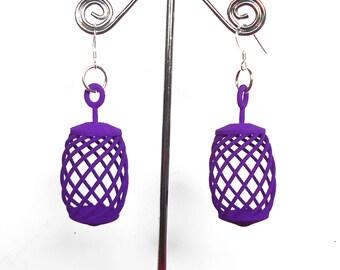 Barrel O' Fun -- Purple 3D Printed Earrings -- they spin!