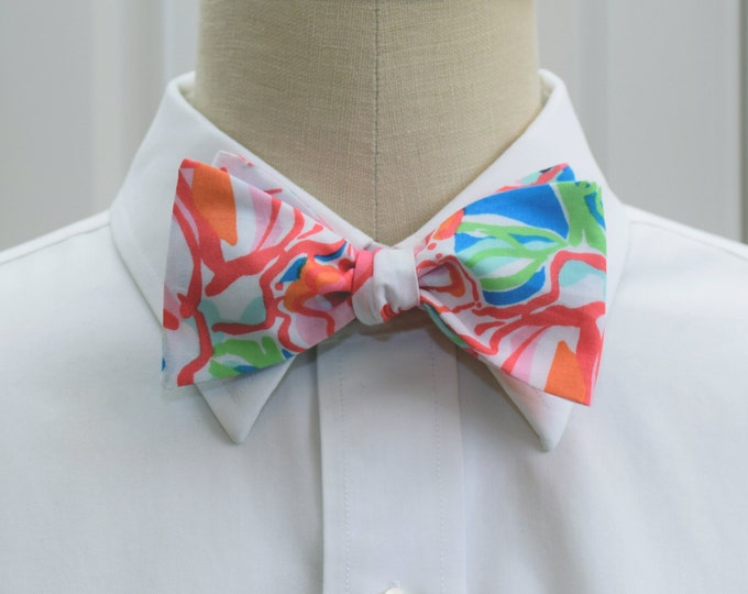 Men's Bow Tie, Lucky Charms blue/coral/pink Lilly print, wedding bow tie, groom bow tie, prom bow tie, groomsmen gift, tuxedo accessory