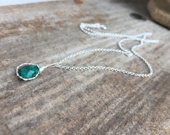May Birthstone|Emerald Necklace|Sterling Silver|Vintage Style|Dainty Necklace|Delicate|Elegant Necklace|Real Emerald|Darling