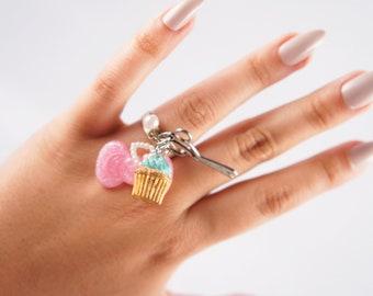 Crafty Kitsch Charm ( Mini Cupcake / Glitter Bow / Scissors ) Adjustable Silver Tone Ring