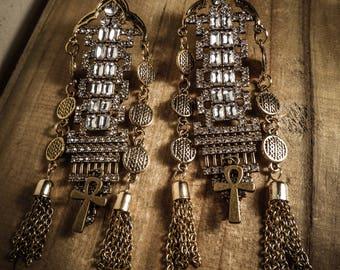Golden bronze Goth Harem Ankh earrings