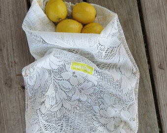 Upcycled Produce Bag /  Zero Waste / Reusable Produce Bag / Reusable Bag / Produce Bag/  Lace Produce Bag