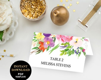 Floral Wedding Place Card, Printable Editable Template (Melissa), Floral Wedding, Instant Download, PDF, Editable Text, Pink Flowers