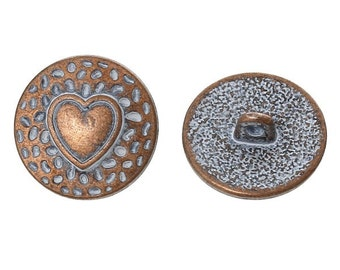 Metal Shank Buttons with Heart Spray Painted Pack of 10