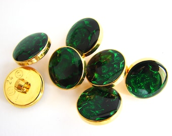 Golden and green button, 7 vintage shank buttons with emerald green top, 15 mm, unused!!